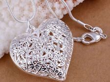 925 Sterling Silver Flower Heart Charm Pendant Necklace Link Chain Jewellery