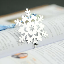 NEW Cute Snowflake Creative Exquisite Alloy Bookmark With Ribbon Box Gift Lovely