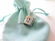 "Tiffany & Co. Sterling Silver Alphabet Letter ""N"" Padlock Charm Pendant w/ Pouch"