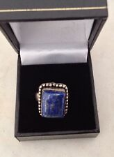 HALLMARKED SILVER 925 LARGE CHUNKY LAPIS LAZULI RING In Box- New Price £12.00!