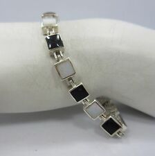 Sterling Silver Princess Inlaid enamel BLACK Opal link Tennis Bracelet 925 7.25""