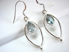 Faceted Blue Topaz Earrings Teardrop in Hoop 925 Sterling Silver Dangle Drop New