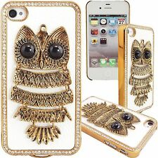 White & Gold Bling Owl Case for Apple iPhone 4 4G 4S PU Leather Hard Fancy Cover
