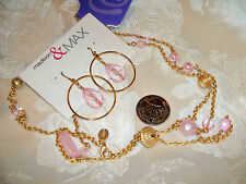PINK BEAD/GOLD TONE CHAIN NECKLACE(CLAIRES)+DANGLE HOOP WITH CRYSTAL HOOK EARRIN