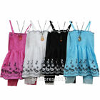Girls Party Summer 2/3pc Floral Dress Top with Leggings Set Age 2 6 8 10 12 year