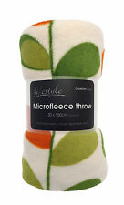 Country Club Microfleece Throw Blanket Cover Orange Green Leaf 130x150cm Fleece