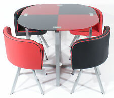 REBOXED Glass DINING TABLE w/Four CHAIRS SET in Black&Red Space Saver Furniture