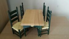 Dollhouse Miniature Green Kitchen Pine Top Table + 4 Green Rush seat Chairs DHE