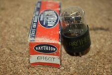 6H6GT RAYTHEON VINTAGE TUBE WITH BLACK PLATES - NOS IN BOX