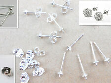 20Pcs 925 Sterling Silver DIY Beads Findings Ear Pin Stud 925 BACK Stopper 0