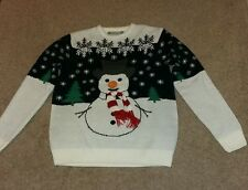 """27"""" Cedar Wood State Men's L Knitted Sweater White Black with Snowman"""