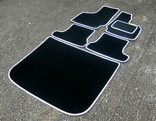 Black/White Car Mats to fit Audi TT (2006-2014) + Boot Mat - FREE COLOURED TRIM!