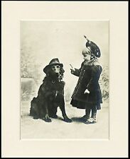 FLAT COATED RETRIEVER DOG WEARING HAT CUTE LITTLE GIRL PRINT READY MOUNTED