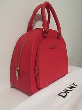 DKNY RED BOWLING BAG PURSE SAFFIANO LEATHER