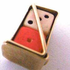 Vintage TWO DICE IN  GOLD CASE HOLDER 9ct gold  novelty opens charm dated 1964