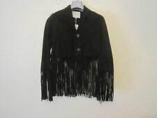 Maje 'Love' Black Suede Fringed Jacket