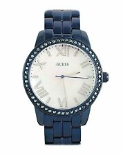 Guess Women's Blue Tone Mother of Pearl Dial Crystal Glits Watch - W0444L4