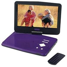 "PORTABLE DVD PLAYER 10"" USB SWIVEL SCREEN Purple Kids Happy InCar! ScratchedLid"