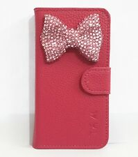 3D Diamond Crystal Bow Bowknot Flip Leather Card Wallet Case Cover For HTC Phone