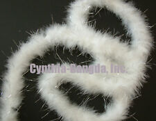 "75g White with Silver Tinsel marabou feather boa 2""W 10Yard *for Christmas"