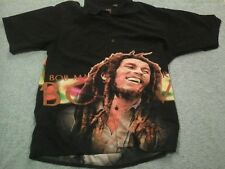 Bob Marley By  Dragonfly  Button Front Men's Shirt Size XL  Two Sided Graphics
