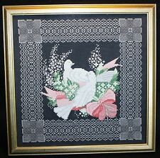 Large completed Delicate Dove Cross Stitch Handmade Shabby Cottage Chic