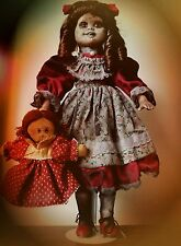 ooak horror doll. Creepy doll. Gothic doll. Porcelain doll. Halloween prop.