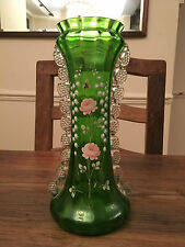 Antique Victorian Green Glass Mary Gregory pinched frilled Vase Rose & Lily
