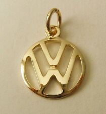 SOLID 9K 9ct YELLOW GOLD VW VOLKSWAGEN SIGN LOGO CAR Charm/Pendant