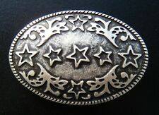 5 FIVE STAR WESTERN FLOWER ANTIQUE SILVER  BELT BUCKLE BOUCLE DE CEINTURE