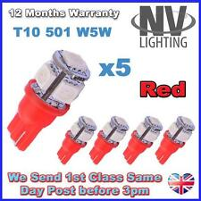 5 x 5 RED SMD LED 501 T10 W5W Interior / Side Light bulbs - SUPER BRIGHT