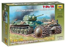 ZVEZDA 3580 SOVIET MEDIUM TANK T-34/76 W/MINE ROLLER MODEL KIT 1/35 NEW WWII
