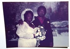 FOUND COLOR PHOTO BLACK AFRICAN WEDDING PARTY HUGE CHEST BRIDE W/ FATHER IN LAW