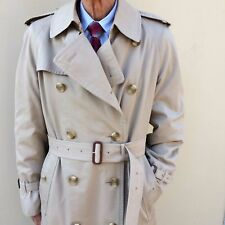 Vtg BURBERRYS Mens UK made Trench Coat 40 Long with Burberry Wool Liner
