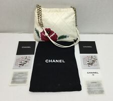 Chanel White Quilted Lambskin Leather Camellia Patchwork Shoulder Evening Bag