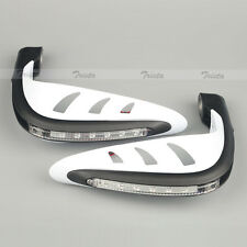 "White Motorcycle ATV Dirt 7/8"" Handlebar Hand Guards LED Turn Signal Light Amber"