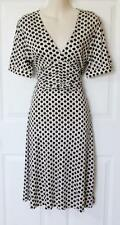 BANANA REPUBLIC Sz M - Polka Dot Short Sleeve ~ V-Neckline Silk Blend Dress