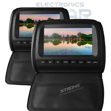 "XTRONS 2x Leather-Style Black Pillow Headrest Car DVD Player 9"" HD USB SD Games"