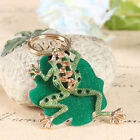Cute Green Frog Leaves Lovely Charm Pendant Rhinestone Crystal Key Ring Keychain