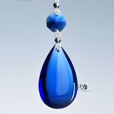 5PCS Blue Tear Drop Crystal Prisms Glass Lamp Chandelier Lighting Pendant 50mm