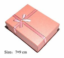 Pink Pearlescent Bowknot Golden Lace Jewelry Ring/Necklace/Earrings Gift Box