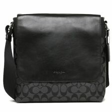 2016 NWT Coach F54771 Men's CHRLS Sign PVC Crossbody Messenger Bag Charcoal/BLK