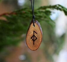 Viking Runes Necklace Good Health Amulet Futhark Norse Wood Pendant Asatru