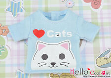 ☆╮Cool Cat╭☆【PR-58】Blythe Pullip Doll Printing Tee(Love Cats)# Baby Blue