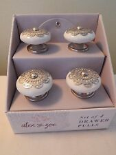 4 NEW Alex & Zoe Drawer Pulls Knobs White Silver Lace Ceramic Knobs