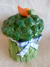 Fitz & Floyd Broccoli Cannister Carrot Finial  Petite Vegetable Blue Ribbon Bow