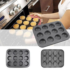 12-Cups Metal Nonstick Cupcake Bake Mold Pan Tray Tin Cake Pudding Muffin Bun SK