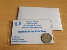 Welcome To The World - New Baby Boy - Wallet Card & Sixpence - Personalised