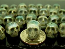 Rare Intricate High Detail Hand Carved Blue Genuine Pearl Skull Bead Small Hole