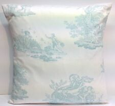 "Laura Ashley Toile Topaz Blue French 16"" Cushion Cover"